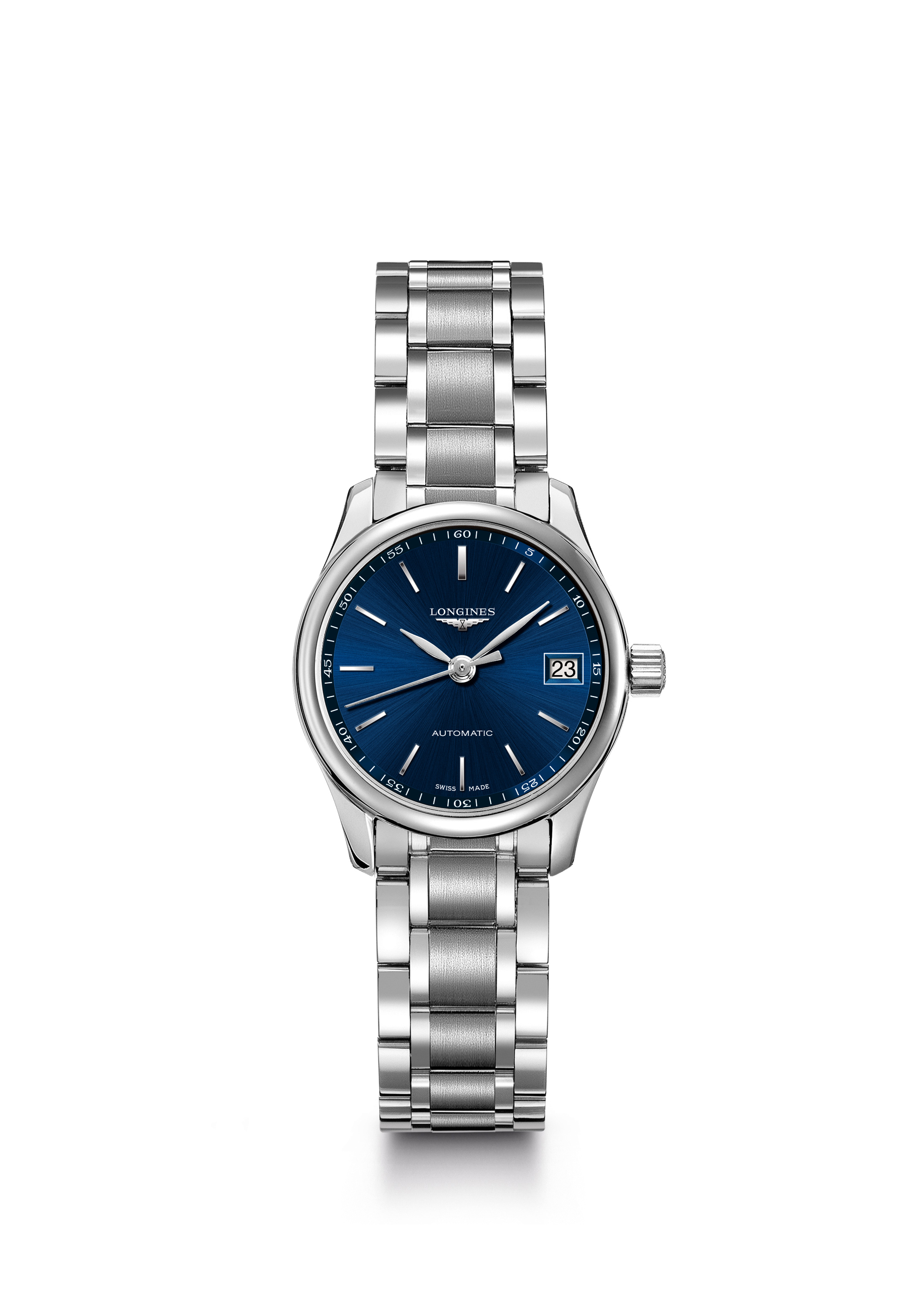 This women's Longines Master Collection watch measures 25.5mm in diameter and is crafted in steel with blue sun ray dial. It is equipped with the automatic L592 caliber.