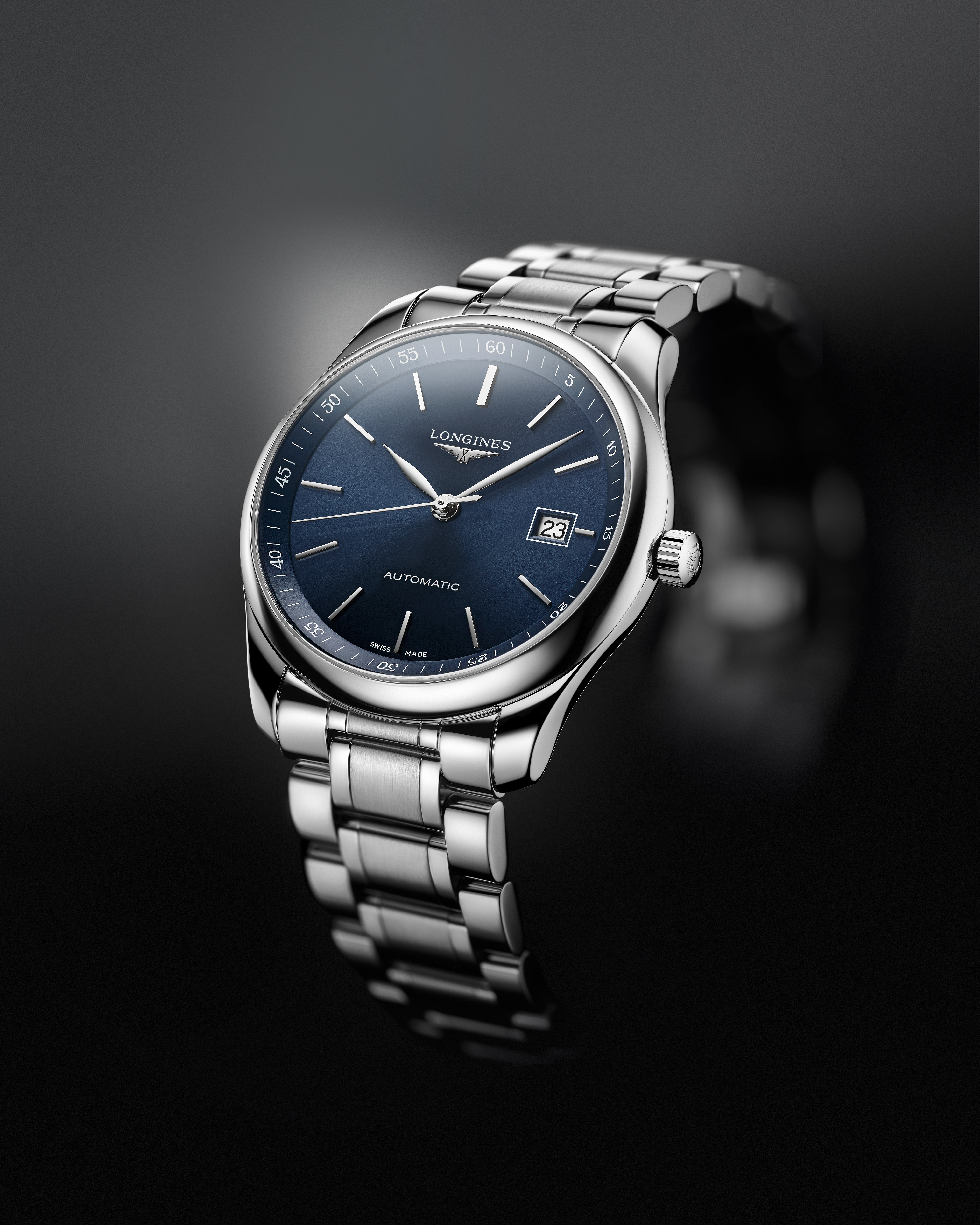 The Longines Master Collection blue dial is the Official Watch of The Breeders' Cup World Championships. This 42-mm steel model features a sunray blue dial. It is powered by an automatic L888 caliber.