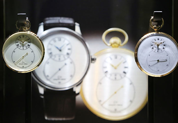 The exhibit includes historic pieces, as well as contemporary watches.