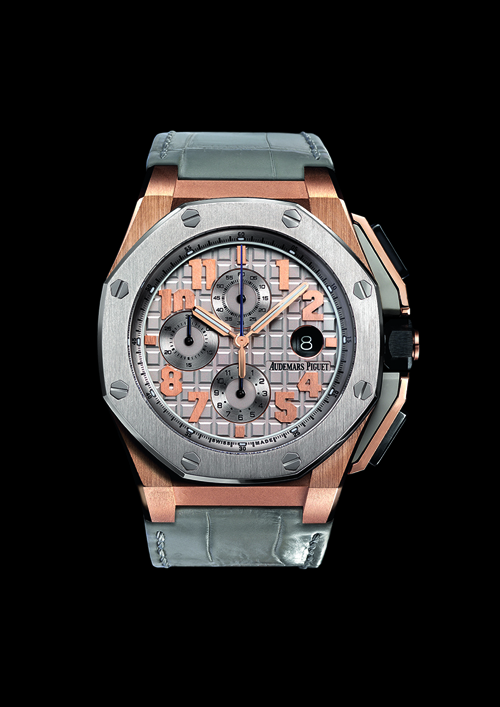 The Royal Oak Offshore Limited Edition LeBron James watch is crafted in 18-karat rose gold with a titanium bezel.