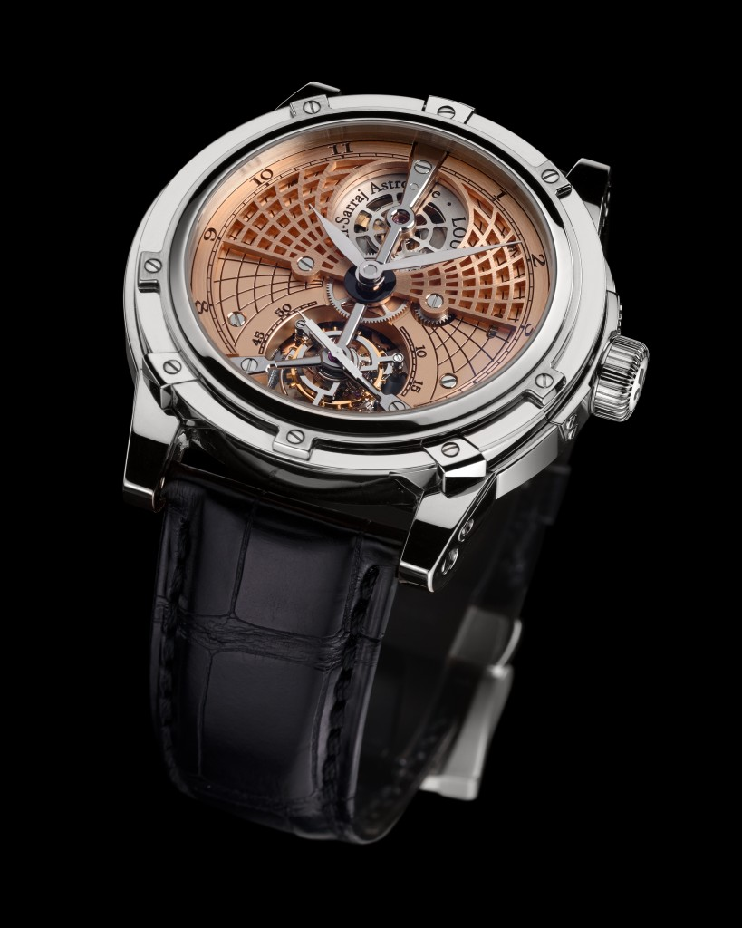 The watch offers central hours and minutes, as well as tourbillon escapement