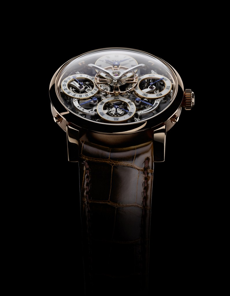 The three-dimensional architecture of the watch offers dramatic appeal