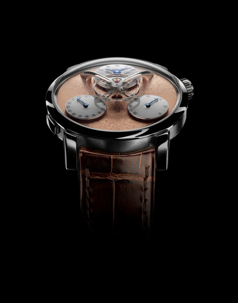 Four different versions of the MB&F Legacy Machine Split Escapement (LM SE) watch are being made.