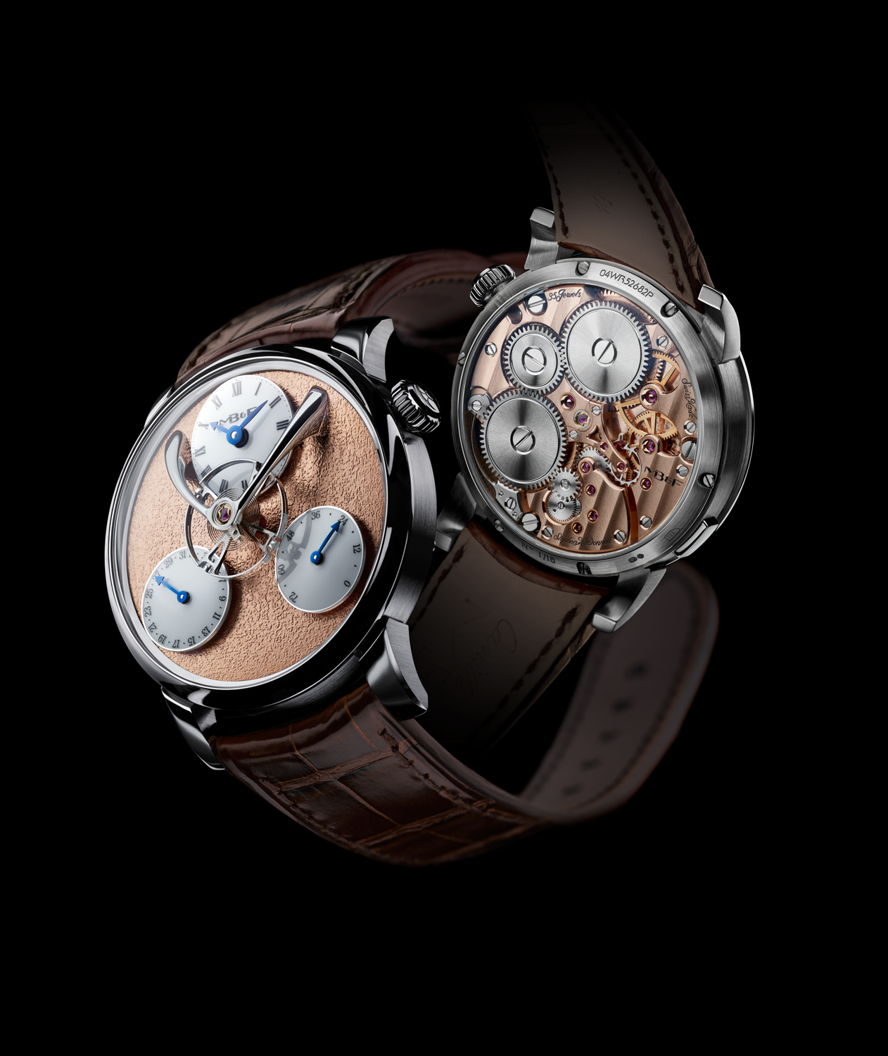 The manual wind movement for the MB&F Legacy Machine Split-Escapement was developed for MB&F by Stephen McDonnell, who also developed the Legacy Machine Perpetual two years ago.