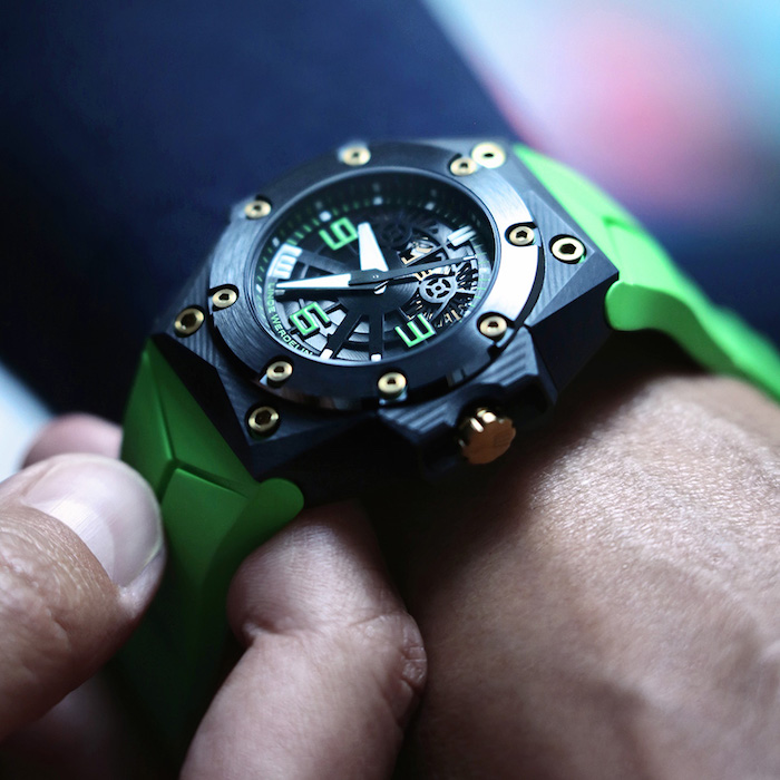While the Linde Wetdelin Octopus Double Date Carbon Green is a dive watch -- it looks great with a suit