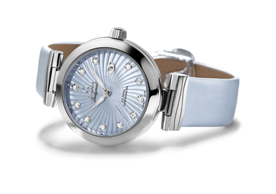 Omega Ladymatic with pale blue mother of pearl dial and Co-Axial movement