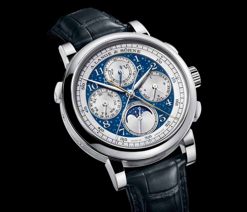 The stunning dial of the A. Lange & Sohne 1815 Rattrapante Perpetual Calendar Handwerkskunst 2017 watch features a celestial theme with stars and moon phase indication accurate for 122.6 years.