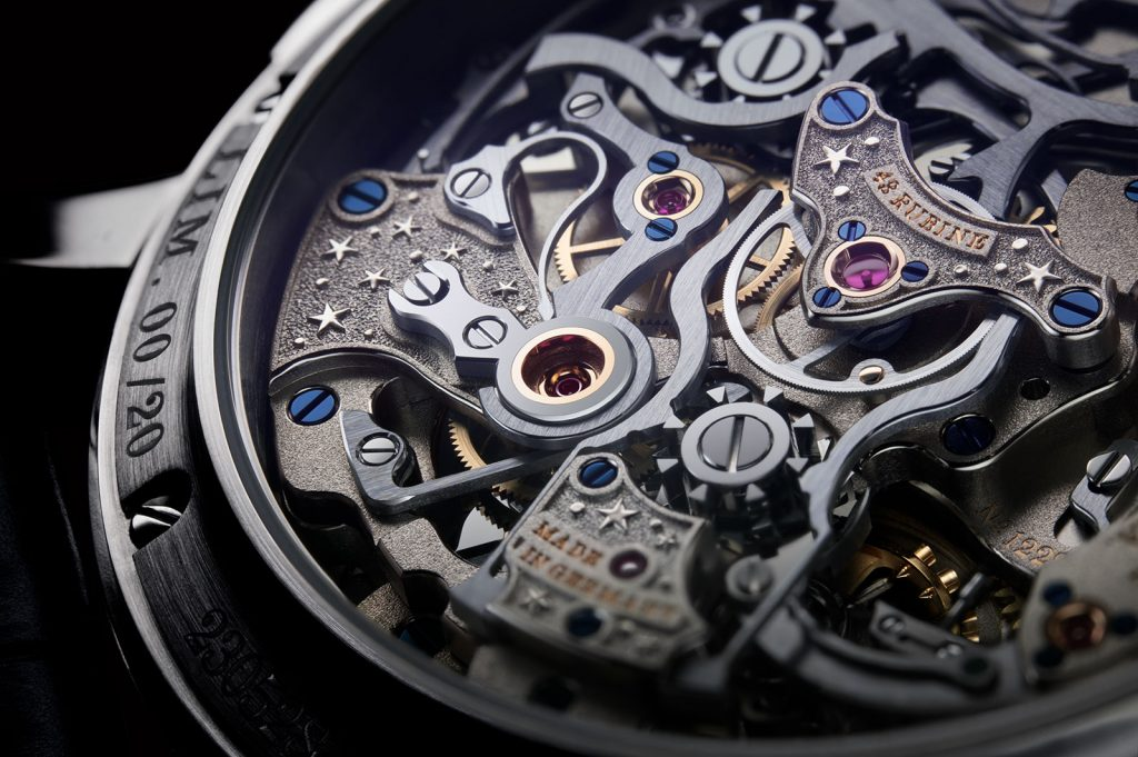 The new 41.9mm 18-karat white gold A. Lange & Sohne 1815 Rattrapante Perpetual Calendar Handwerkskunst is powered by the 631-part movement, manufacture caliber L101.1.