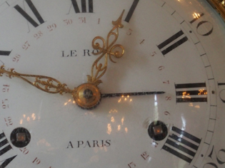 Close up look at the elegant LeRoy clock dial.
