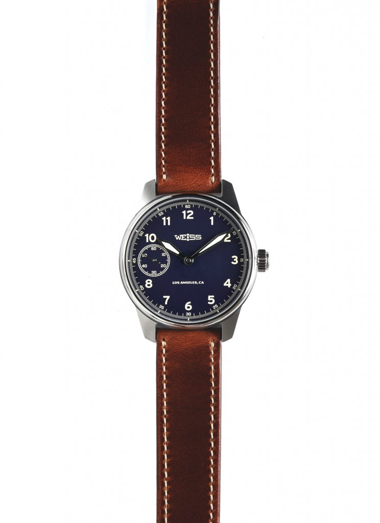 American watch brand, Weiss, uses American-made leather straps and movement parts from America and Switzerland.