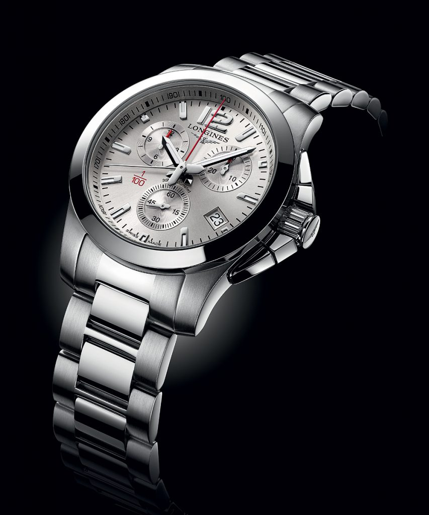 The stainless steel Longines Conquest Horse Racing watch is priced at $1,600.