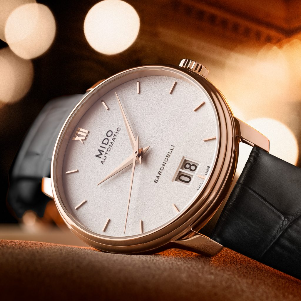 Mido Automatic Baroncelli Big Date watch on leather strap.