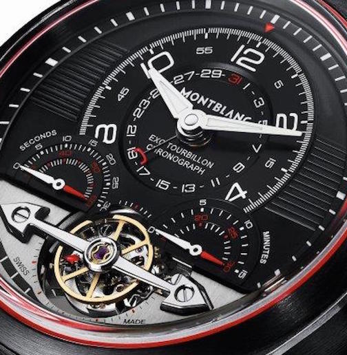 The TimeWalker Exotouqbillon Minute Chronograph offers mono pusher chronograph and tourbillon escapment with balance screw outside the cage