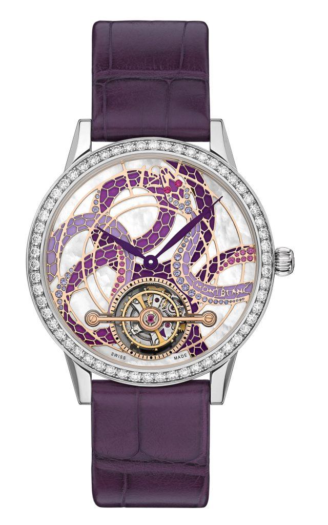 The Montblanc ExoTourbillon watch for women features an artistic serpent dial.
