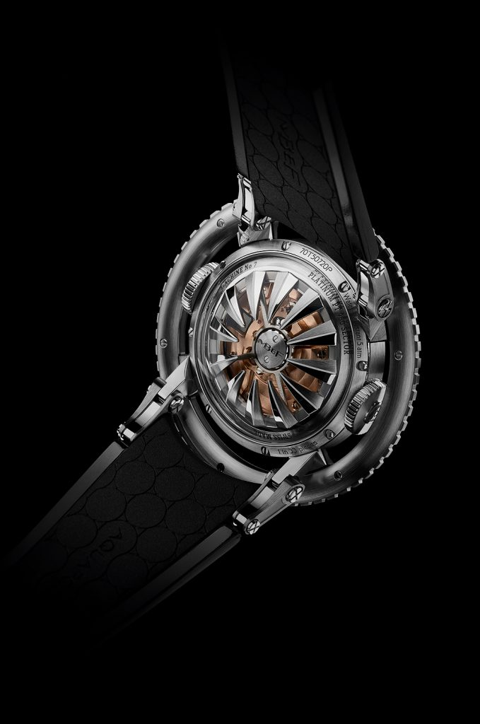 The MB&F HM7 Aquapod features a domed sapphire case with tentacle-designed rotor visible from the case back.