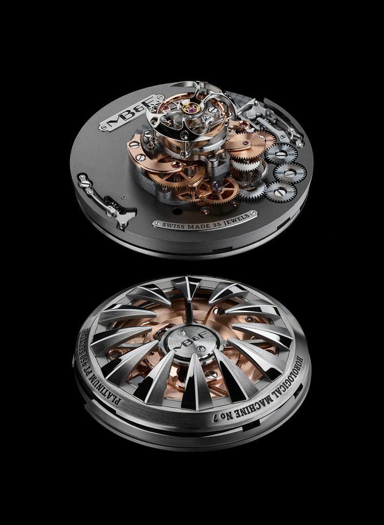 The movement of the MB&F HM7 Aquapod watch consists of 303 parts.