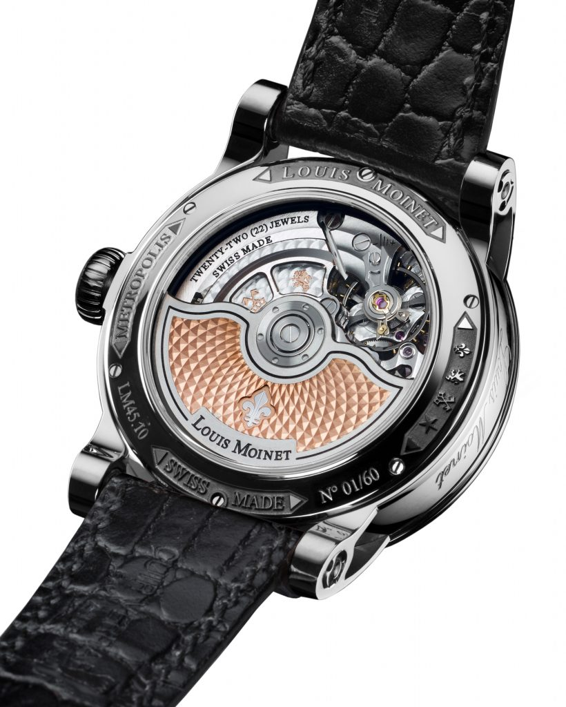 The fine finishings of the Louis Moinet Metropolis movement are visible from the transparent sapphire caseback