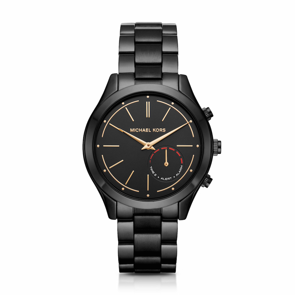 Michael Kors Access Slim Runway Smartwatch measures 42mm in diameter and features a changeable (rather than chargeable) battery with six months of life.