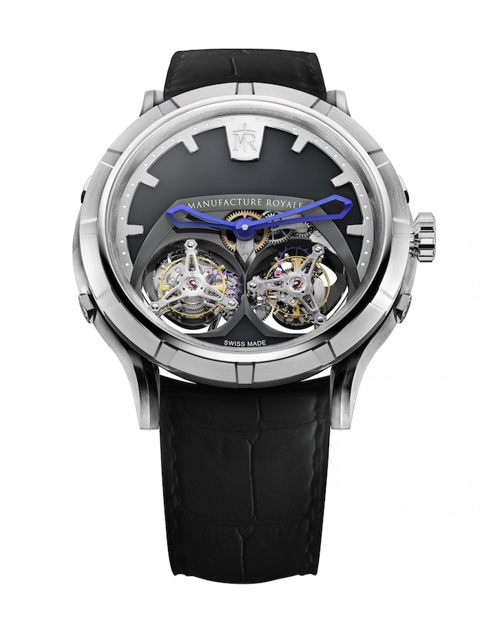 The Manufacture Royale Micromegas features two flying tourbillons -- each rotating at different speeds