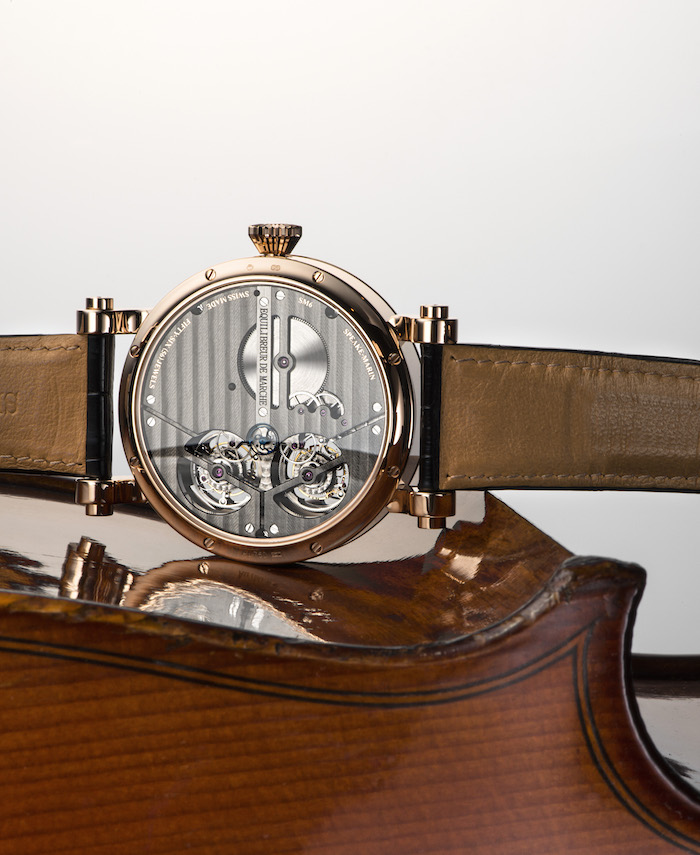 The case back of the Magister Vertical Double Tourbillon in 18K rose gold.