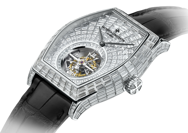 Vacheron Constantin's Malte Tourbillon High Jewelry watch features more than 400 baguette-cut invisibly-set diamonds.