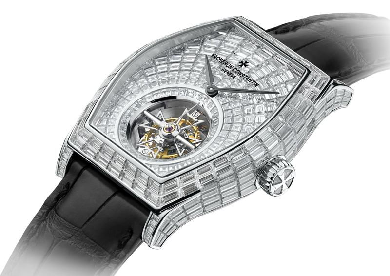 Vacheron Constantin's Malte Tourbillon High Jewelry watch features more than 400 baguette-cut invisibly-set diamonds.