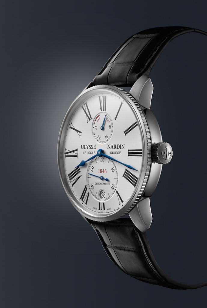 The new slimmer-profile Ulysse Nardin Marine Torpilleur watch is powered by the UN 118 self-winding caliber with siicium technology.
