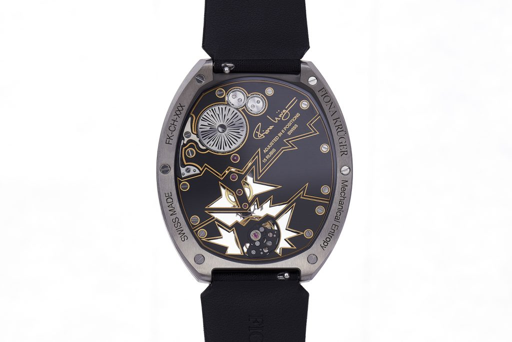The back of the Fiona Kruger Chaos Mechanical Entropy watch.
