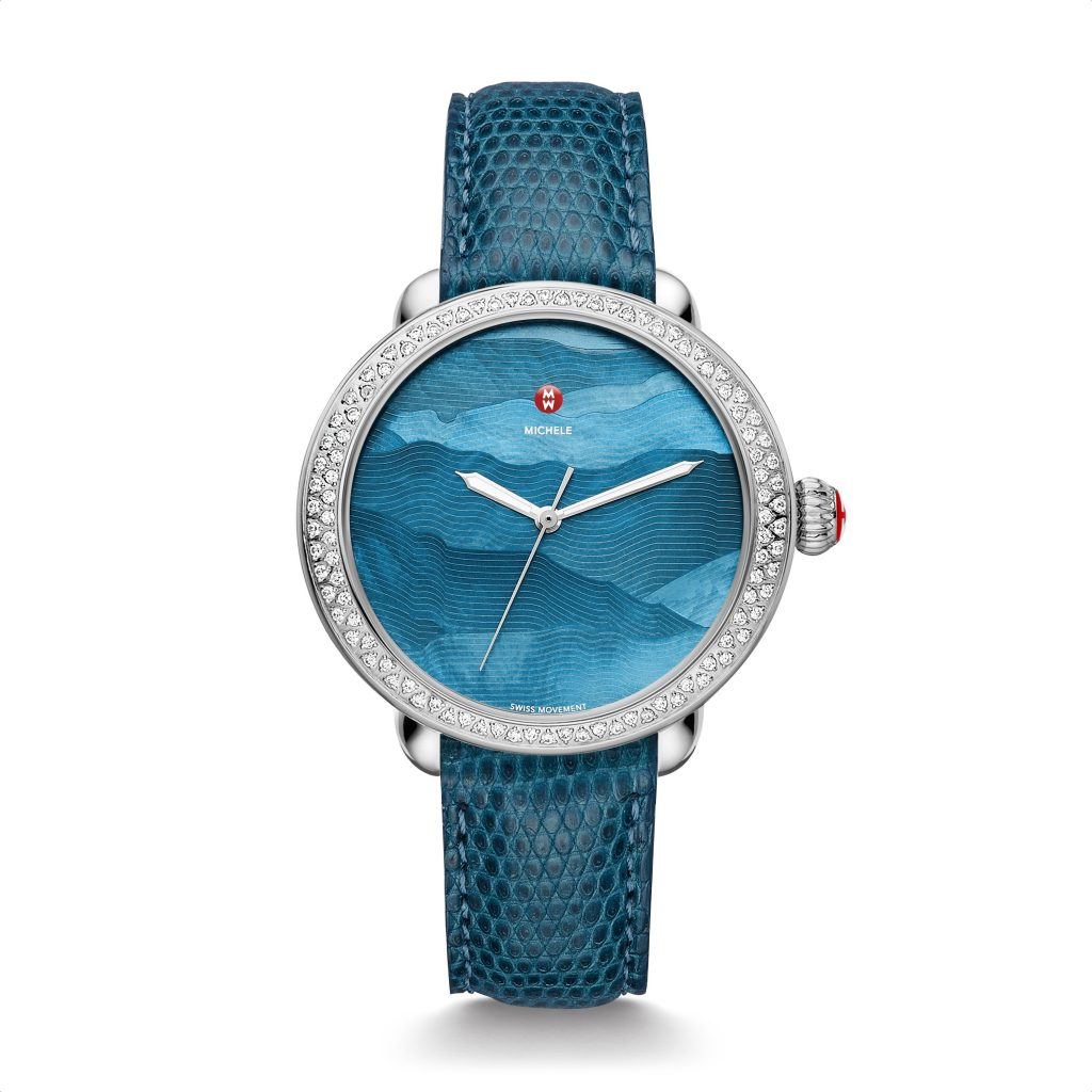 Michele Watches, Serein Dimaond with teal gradient dial and blue lizard strap. $2,215.