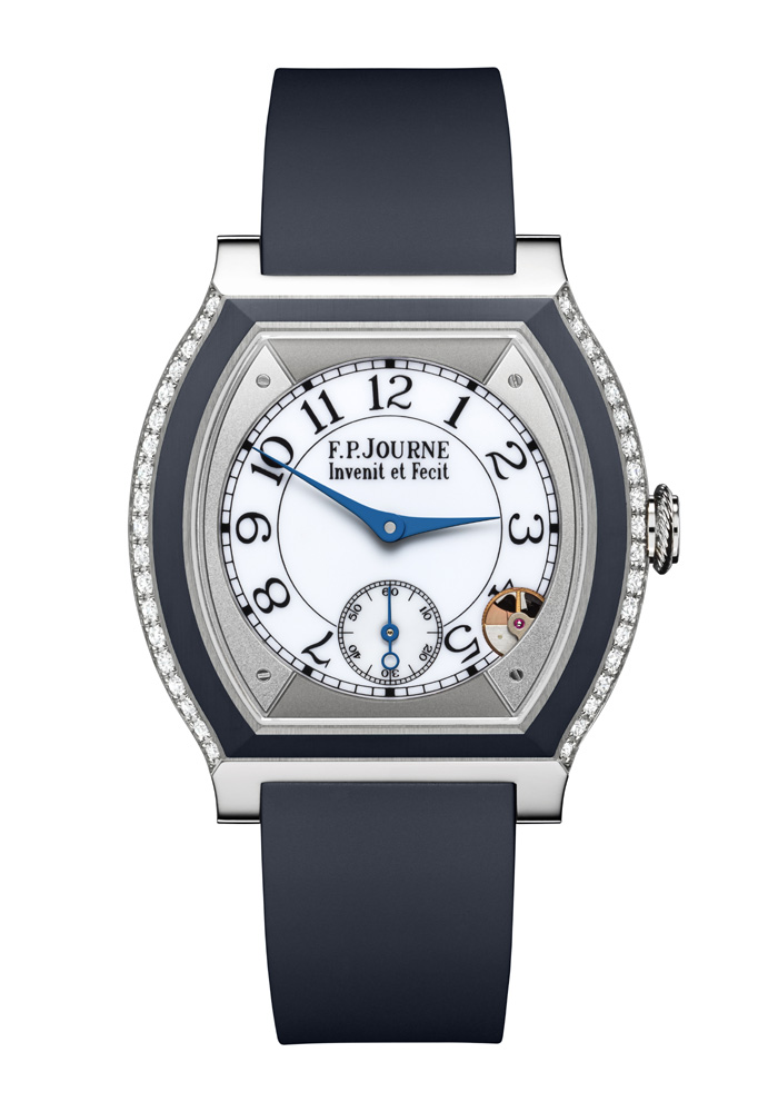 The F.P. Journe Elegante goes to sleep  when it lays flat for more than 30 minutes to conserve battery power and then goes right back to proper time when it is picked up.