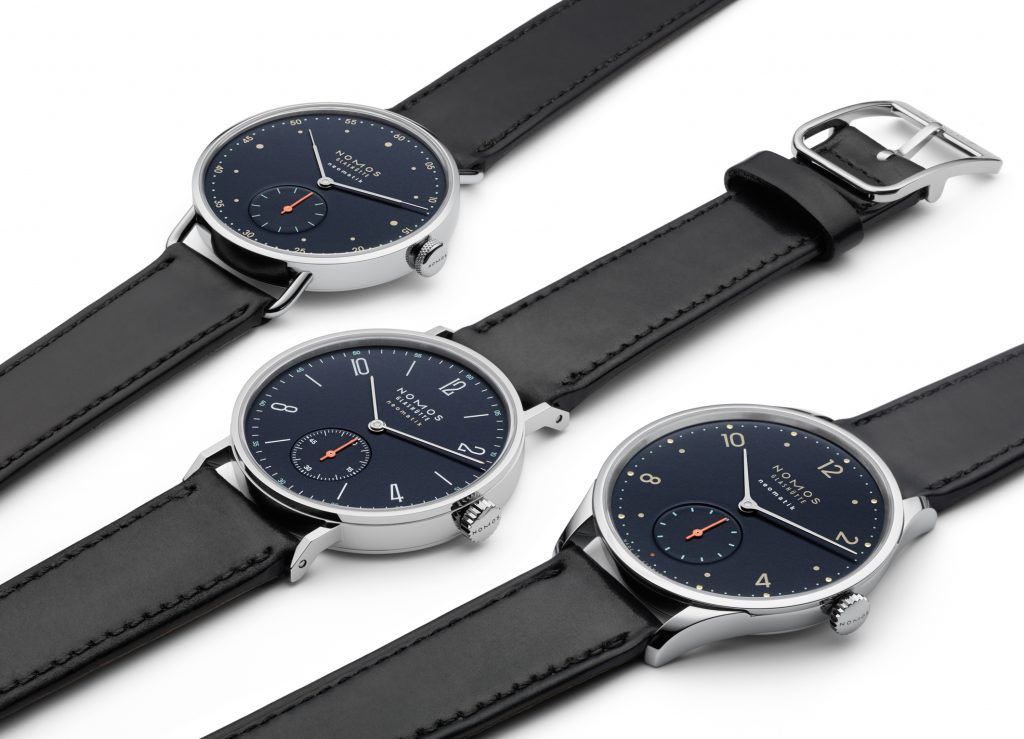 The new family of watches is being offered with midnight blue dials.