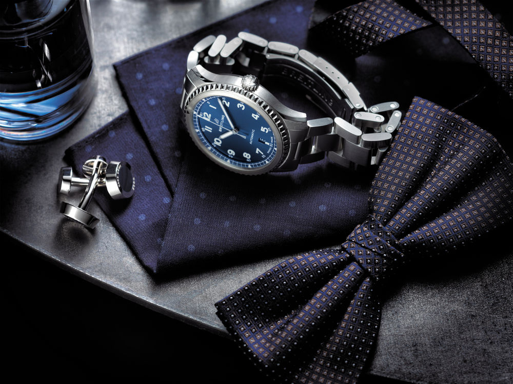 Breitling Navitimer 8 Automatic with blue dial and stainless steel bracelet.
