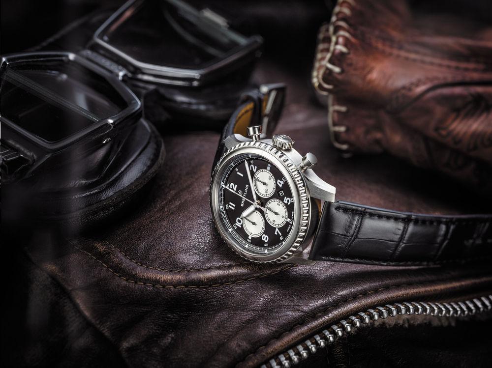 Breitling Navitimer 8 B01with black dial and black alligator strap