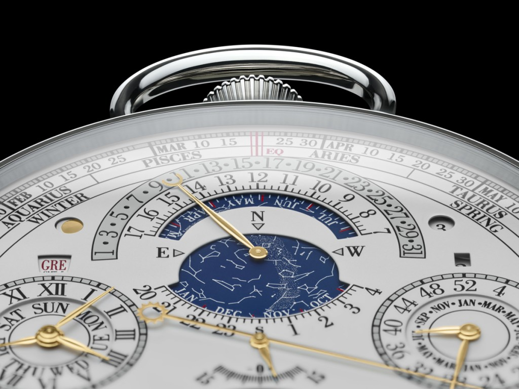 a close up of the astronomical indications with sidereal and equation of time