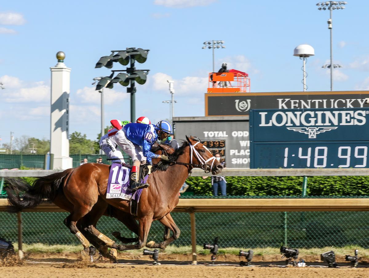 KentuckyOaks race winner Malathaat and John R. Velazquez