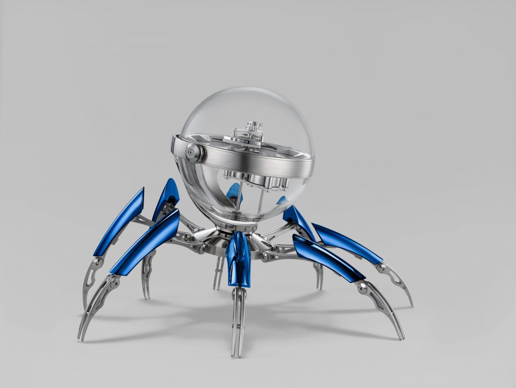MB&F Octopod clock in blue PVD with eight legs-- each one consisting of 31 parts.