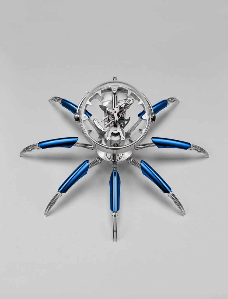 The complex new eight-day clock movement made by L'Epee 1839 for the MB&F Octopod clock is visible in a transparent sphere that acts as the head of the octopus.
