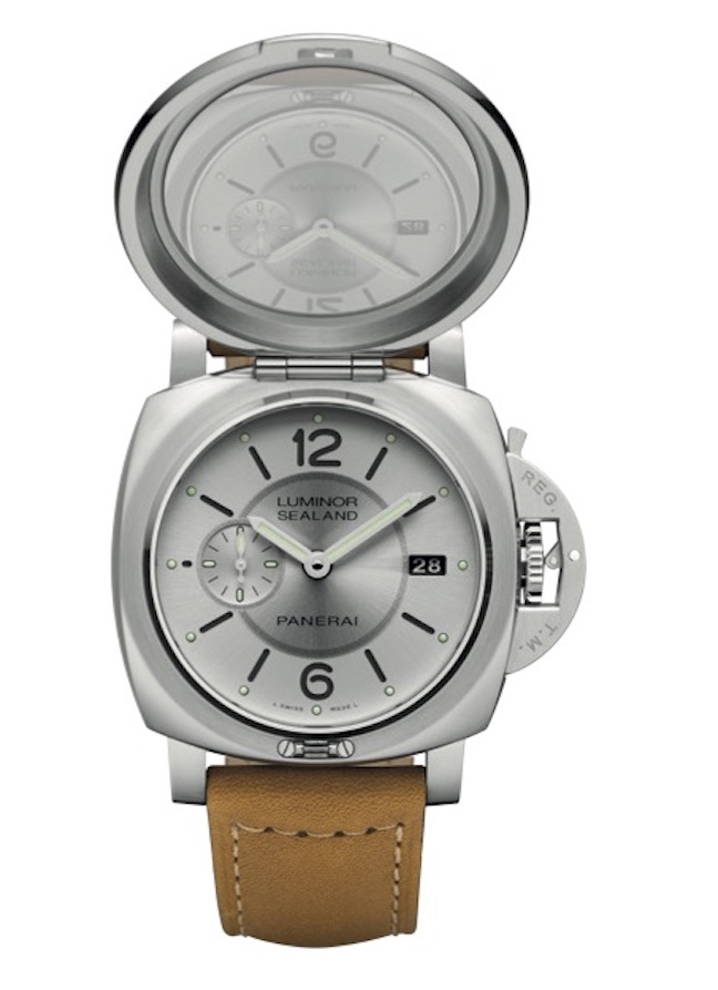 The watch cover opens to reveal a gray dial with date indication.