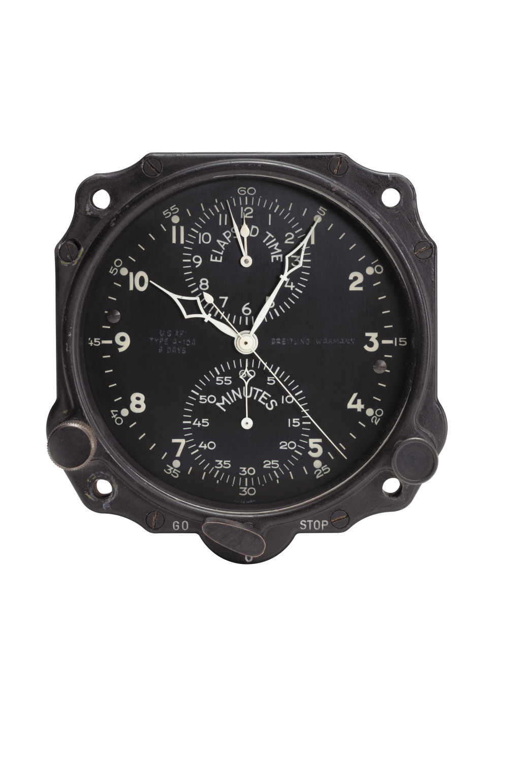 One of the on-board clocks made by the Huit Aviation Department of Breitling