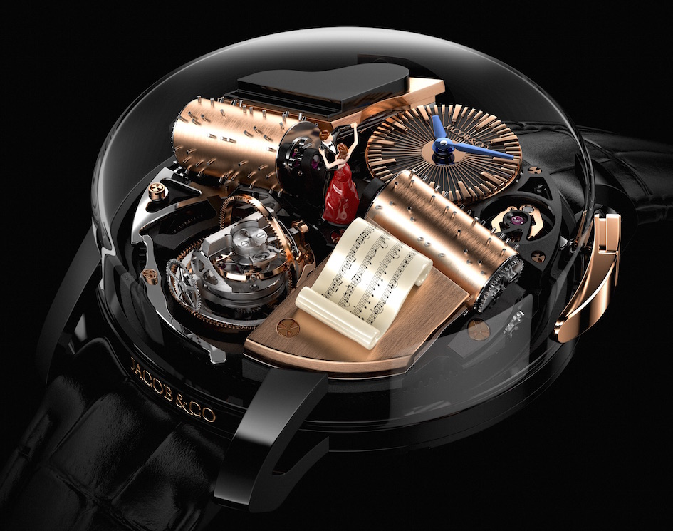 Opera by Jacob & Co. offers a music box on the wrist.