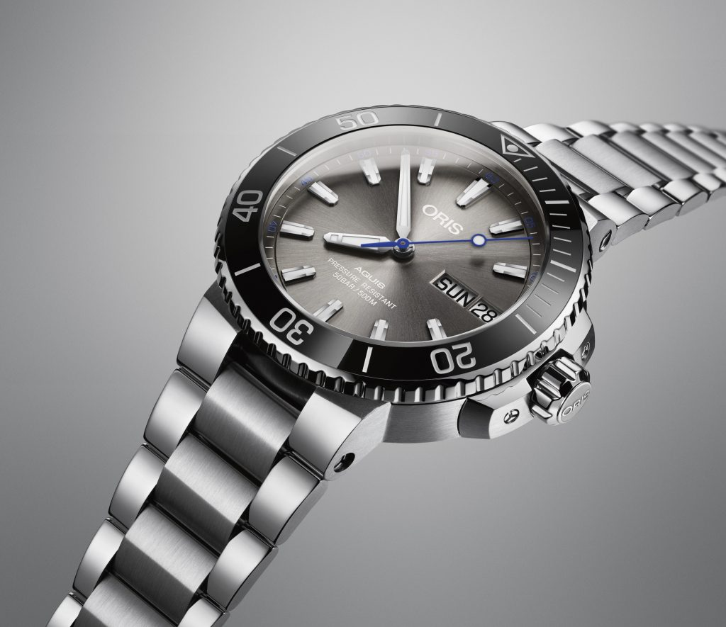 The Oris Hammerhead Limited Edition watch is water resistant to 500 meters.