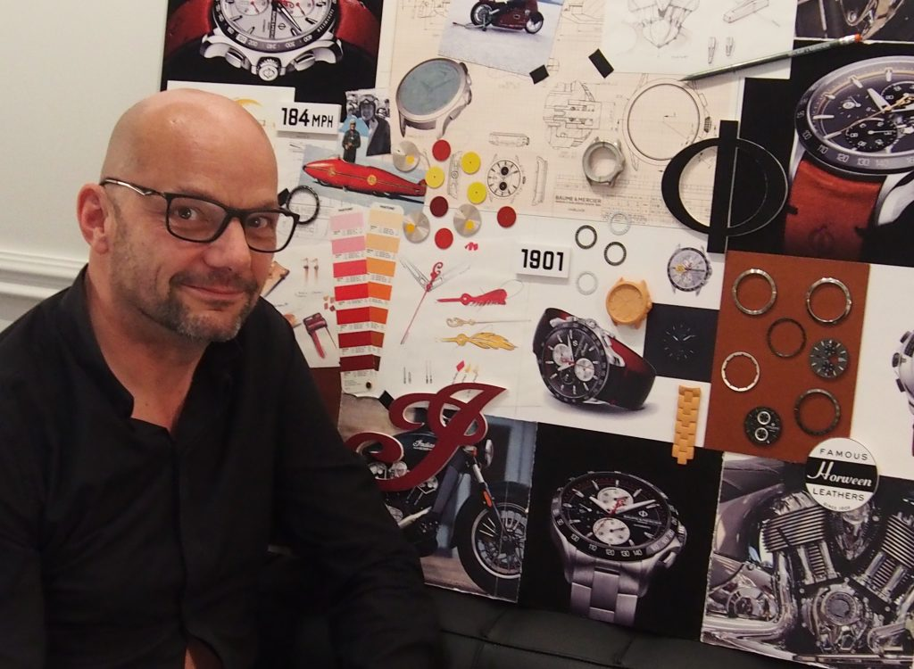 Baume & Mercier's Alexandre Peraldi with Indian mood board. (Photo: R. Naas)