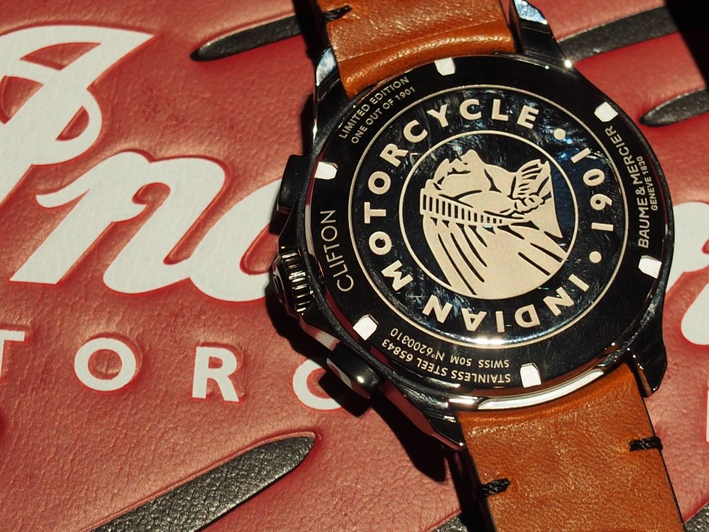 The case back of the Baume & Mercier Clifton Club Indian Legend Scout watch -- with Indian chief logo. (Photo: R. Naas)