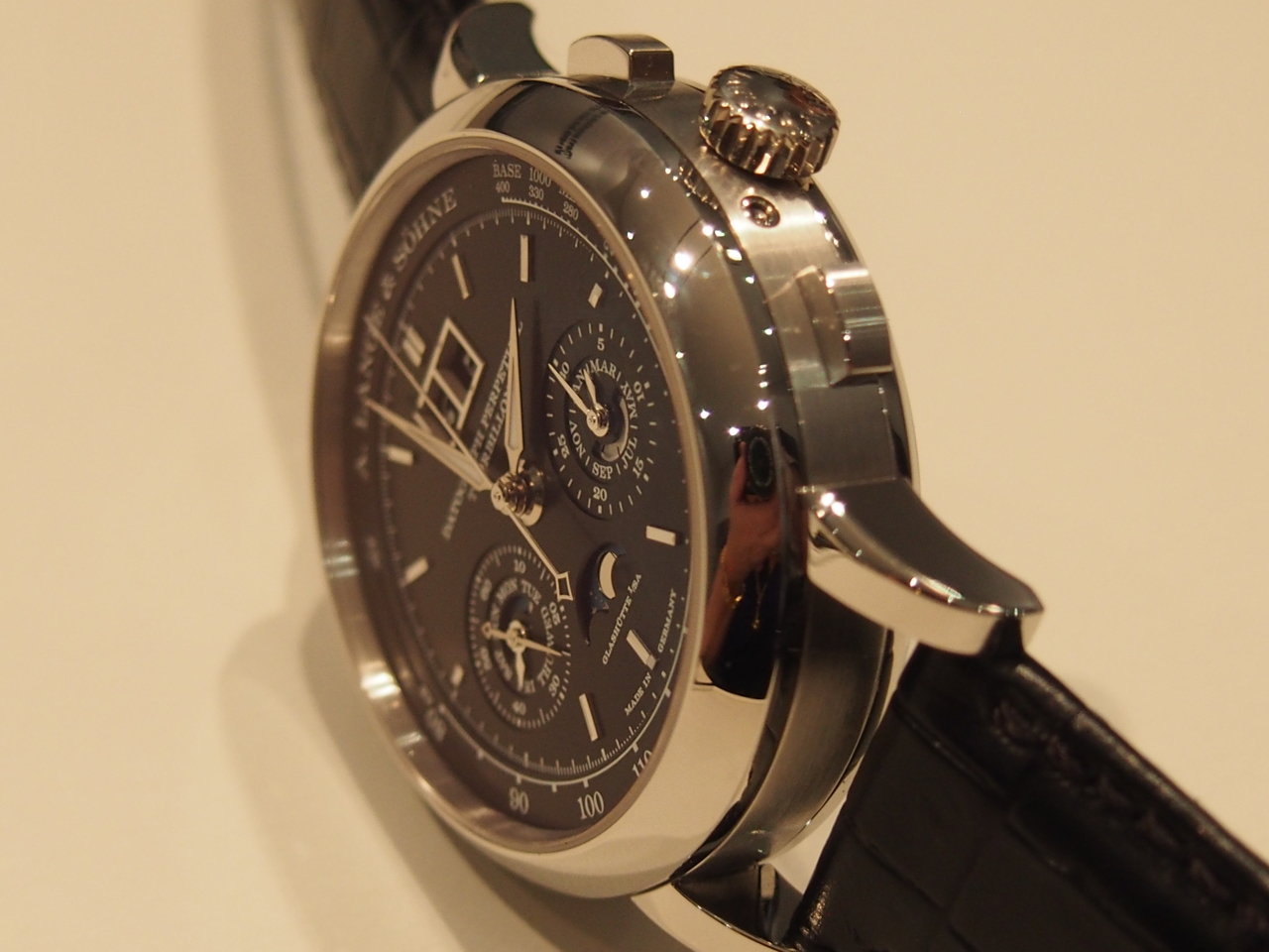 The watch is just over 14mm thick and boasts a tourbillon, chronograph and perpetual calendar accurate to 2100.