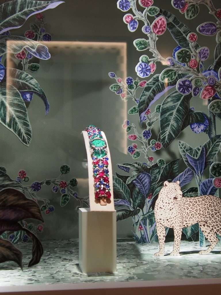 Cartier's windows at last year's SIHH embraces both the Tutti Frutti Art Deco theme and the Panthere theme.