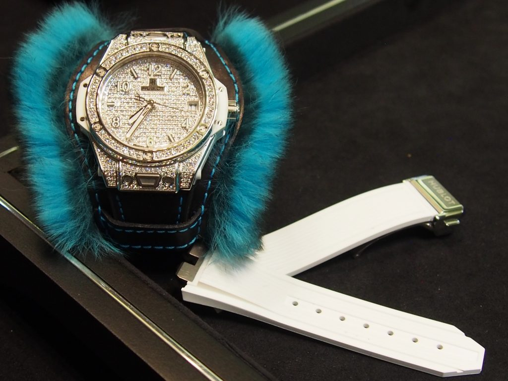 "Hublot sells the Big Bang ""One Click"" Cuddly cuff watch with an interchangeable rubbers strap for daytime wear (Photo: R. Naas)"