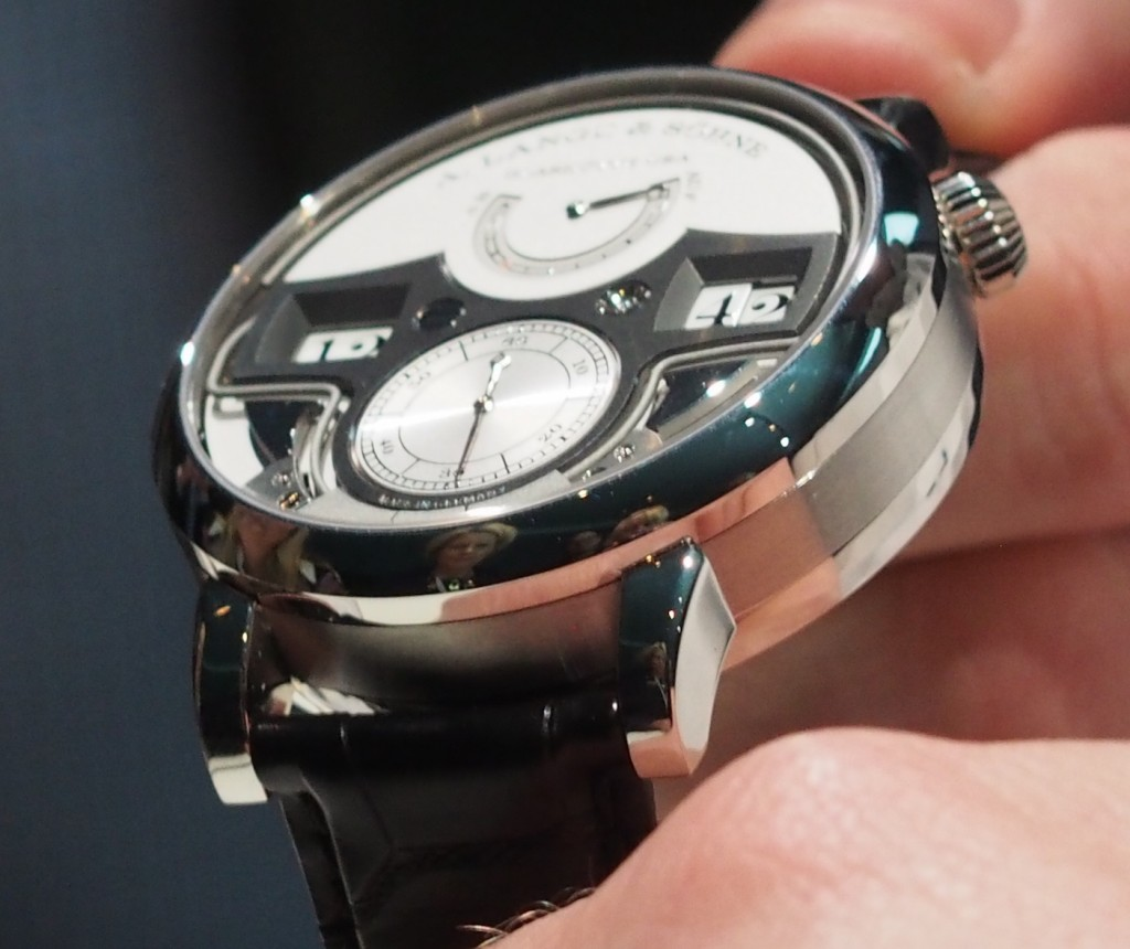 A. Lange & Sohne Zeitwerk Minute Repeater chimes the hours, 10-minute intervals, and minutes