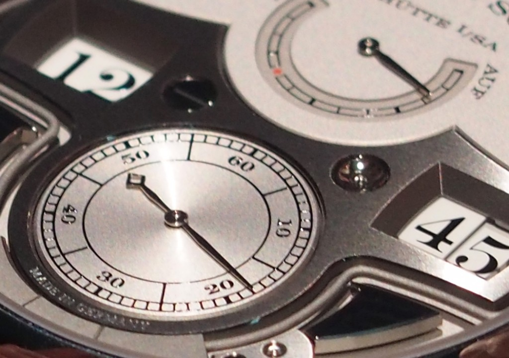 The watch is crafted in platinum and the dial is solid silver