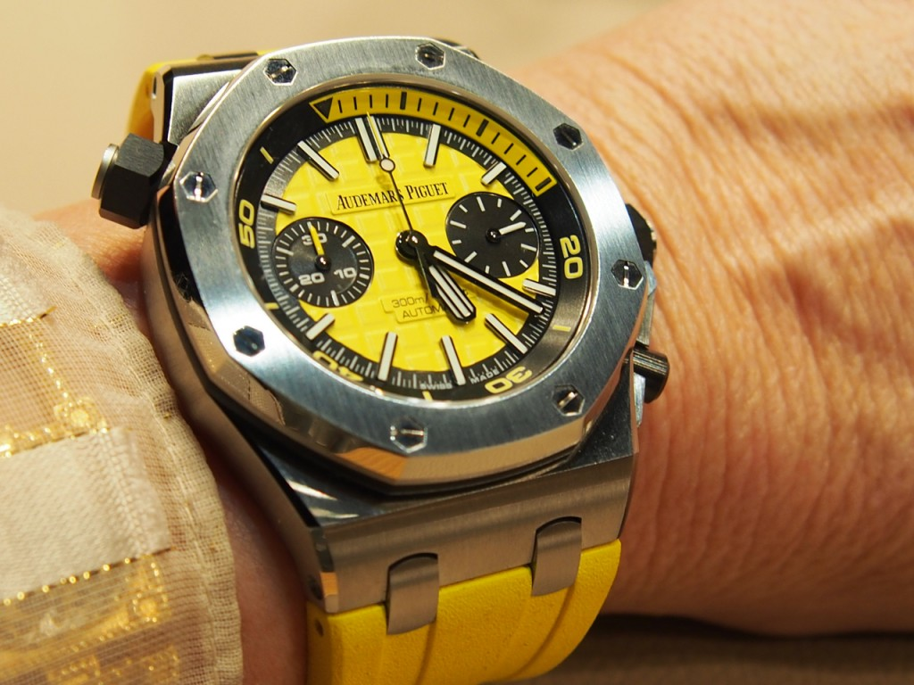 The mechanical Audemars Piguet Royal Oak Offshore Diver Chrono is water resistant to 300 meters.