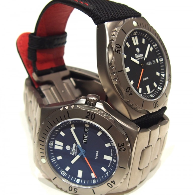 Tutima M2 Seven Seas watches with Kevlar strap or titanium bracelet.